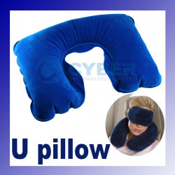 U shaped inflatable neck rest air travel pillow cushion