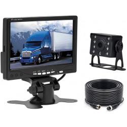 Camera video couleur 12V 24V + Moniteur video 5p 12cm 12v 24v + cable 10m 4 pin bus camion auto