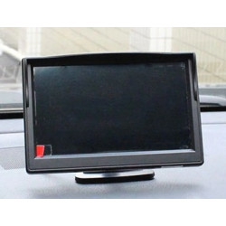 Monitor video 12v 24v 4 pin 5 p 12,7 cm colore 2 ingressi video + ventosa e supporto per autobus per camion