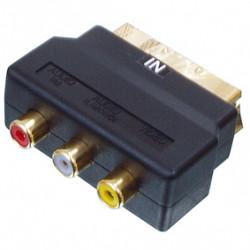 Scart adapter male 3 female rca audio or video in veneered scart 50g black plastic case