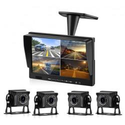Moniteur quad-vision 10 pouces 26cm + 4 caméras 12v 24v 4 broches + 3 cordons 5m + 1 cordon 20m
