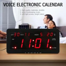 Reloj de pared con calendario led rojo 220v 29x12x5cm pantalla grande tiempo día año temperatura control de voz