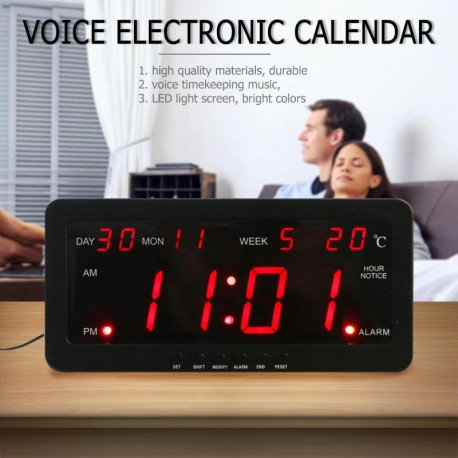 Red led calendar wall clock 220v 29x12x5cm large display time day year temperature voice control