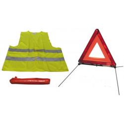 Kit seguridad carretera chaleco + triangulo reflectante signalisacion r27 en11
