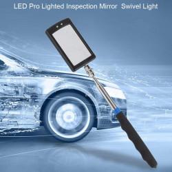 Espejo de inspección regulable de 8cm, abatible en cuatro niveles, endoscopio con 2 luces led debajo del coche.