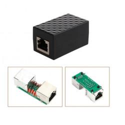 Adaptador LAN RJ45 Ethernet contra sobretensiones Dispositivo de protección contra rayos Aleación de aluminio apantallado Negro