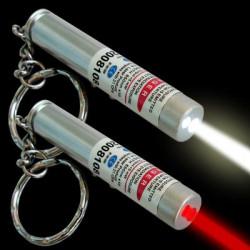 2 in 1 laserpointer taschenlampe rot weißes licht lazer 150m keyring
