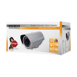 Camera cctv video couleur d exterieur könig sec cam35 securité surveillance coffret metal