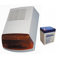 Electronic siren with battery back up with outer cover in polycarbonate and inner cover in zinc plated steel.