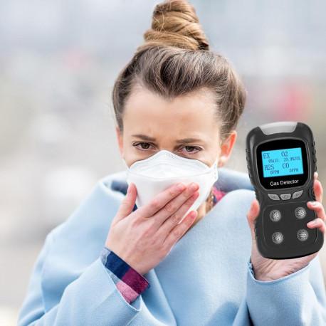 Detector de gas LCD Analizador de monóxido de carbono 4 en 1 EX / O2 / H2S / CO