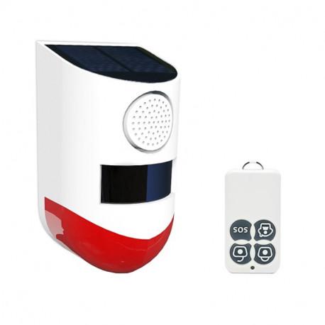 120dB Allarme luce sonora solare Rilevatore sensore di movimento a infrarossi wireless IP67