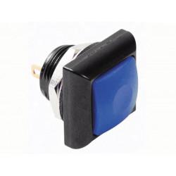 Quadratischer metalldrucktaster mit blauer kappe