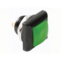 Quadratischer metalldrucktaster mit gruner kappe