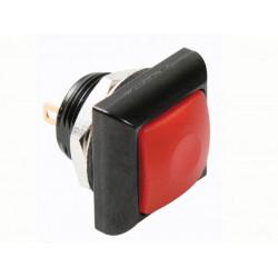 Quadratischer metalldrucktaster mit roter kappe