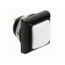 Quadratischer metalldrucktaster mit weisser kappe