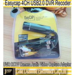Adaptador dvr portatil 4 canales quadra conexion 4 camaras video cctv captura easycap002