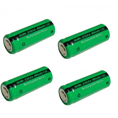 1.2V batería recargable 2 / 3AAA 400mah 2/3 AAA ni-mh nimh cell con los pernos de la pestaña