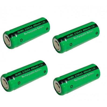 Batteria ricaricabile da 1.2V 2 / 3AAA batteria 400mah 2/3 AAA ni-mh nimh con spinotto per rasoio elettrico