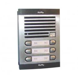 Interphone de rue 6 bp platine exterieure etanche pour recevoir 6 combinés d appartement