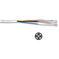 Cable telephone rond 4 x 0.20mm tfc4020 fil blanc telephonique rouleau 100m