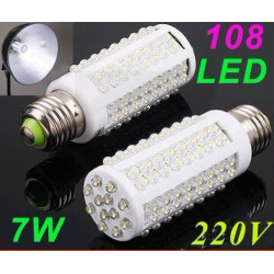 Cold white 450lm 7w e27 108 led screw corn light bulb 200 220 230v