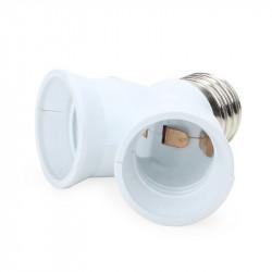 Douille adaptation 2 ampoule led e27 sortie double culot e27 doubleur lumiere eclairage 12v 24v 220v
